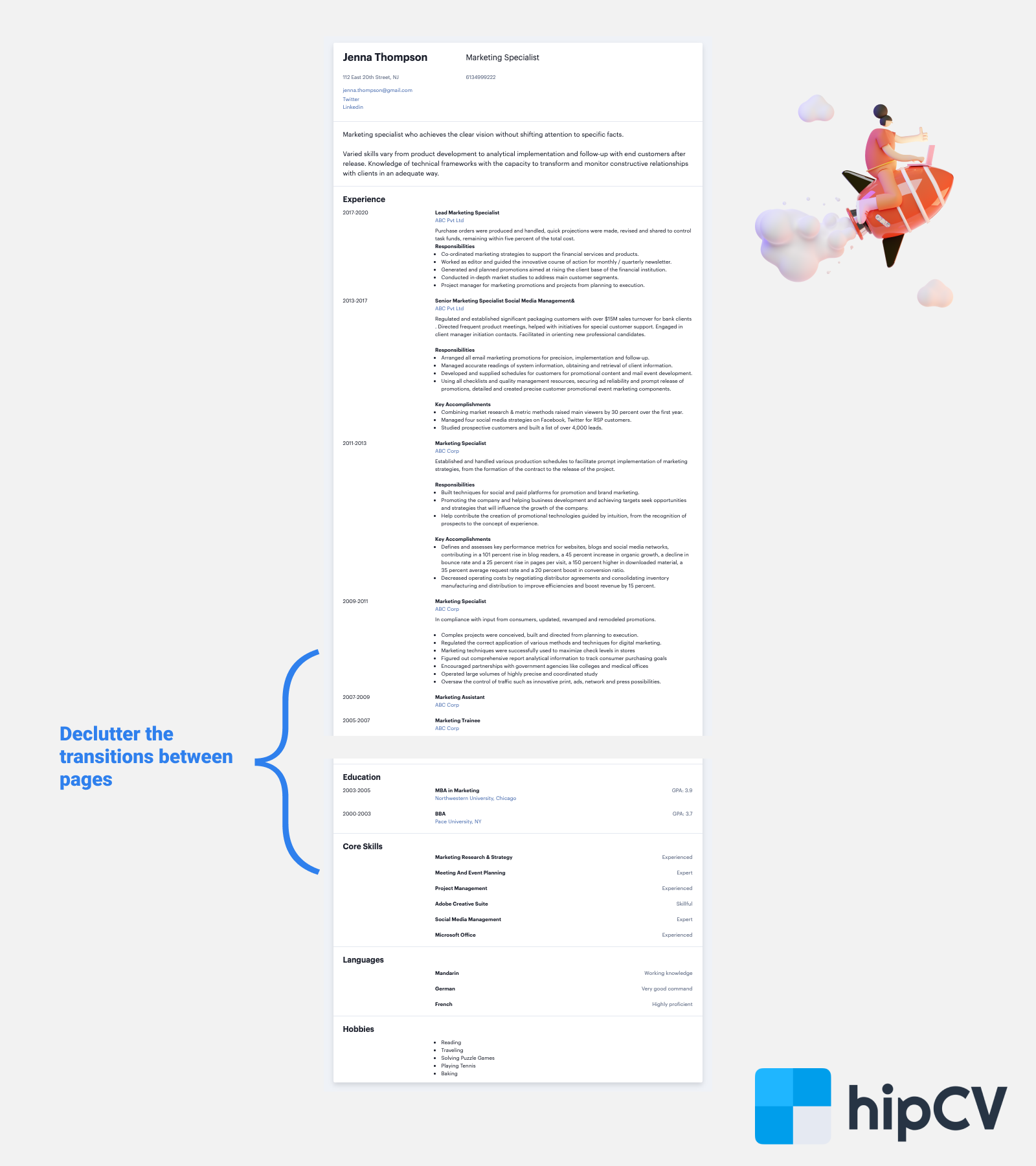 Image for part: 17. Declutter the transitions for your 2-3 page CV